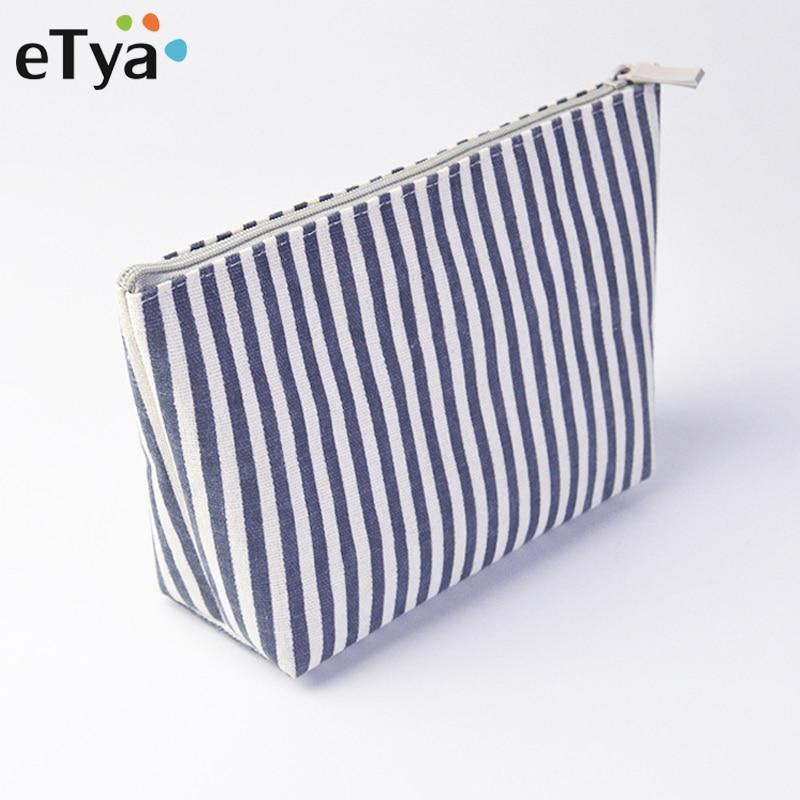 ETya Simple Stripe Cosmetic Bag Women Portable Small Hand Makeup Bags Travel Organizer Zipper Pouch Toiletries Wash Bag