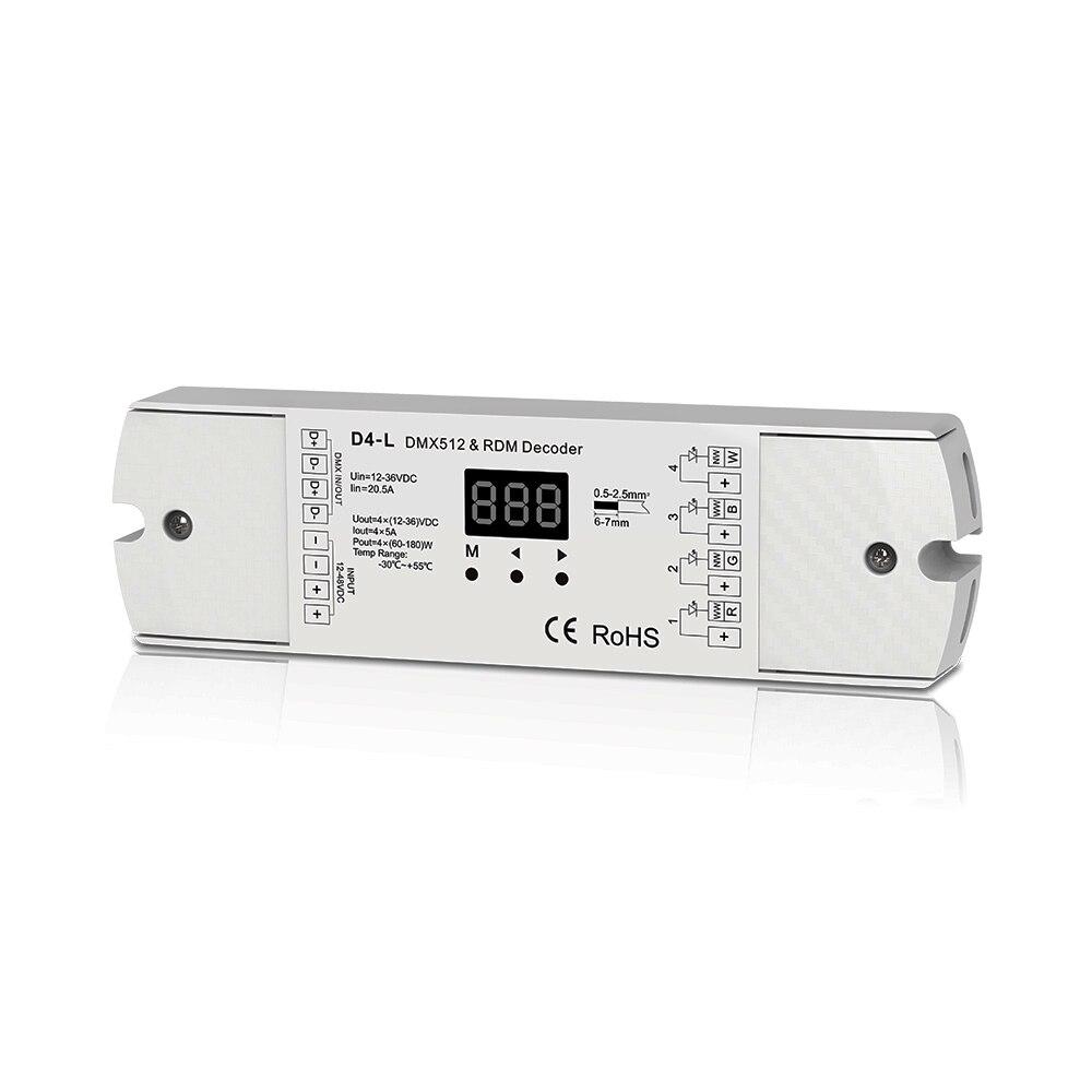 4CH 5A / CH s konstantním napětím DMX512 a RDM dekodér RGBW řadič 4 kanálový regulátor snižování 12-24V výstup PWM