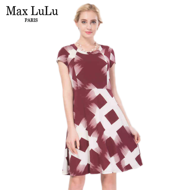 8ddc9f4c2da Max LuLu Europe Brief Women Summer Bodycon Dress Brand Clothing 2017 Plaid Designer  Woman Red Dresses O-neck Slim Roupa Feminina