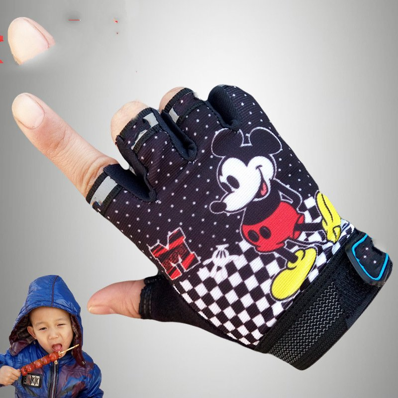 Children 5-13 weeks riding gloves half finger mountain bike outdoor sports children fly to the sun slip gloves equipment mountain bike short finger riding gloves shock absorption and wear resistance riding
