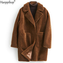 women's winter warm real wool fur jacket lapel collar leisure girl coat lady jacket overcoat