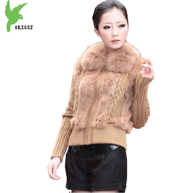 New Women Autumn Winter Knitted Sweater Rabbit fur Stitching Jackets High Quality Large size Slim Sweater Fur Coats OKXGNZ A1274