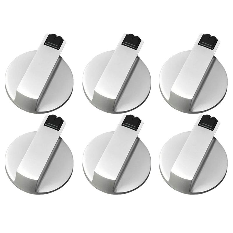 Топ!-плиты ручки для плиты, ручка духовки 6 шт., цинковый сплав 6 мм Универсальные серебряные ручки управления газовой плитой адаптеры духовка поворотный переключатель Co - Color: Silver