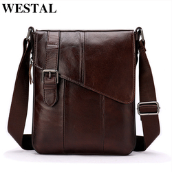 WESTAL Men Leather Messenger Bag Men's shoulder bag Genuine Leather Men's  Small Casual Flap male Crossbody Bags For men 8240