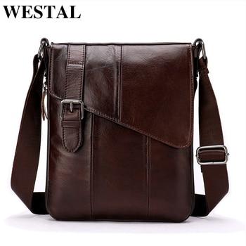 WESTAL Men Leather Messenger Bag Men's shoulder bag Genuine Leather Men's  Small Casual Flap male Crossbody Bags For men 8240