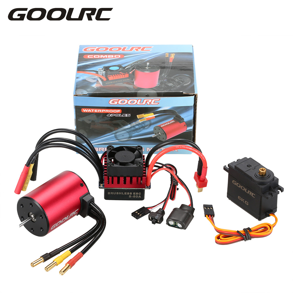 GOOLRC S3650 3900KV Brushless Motor S-60A ESC with 6.0kg Metal Gear Servo Upgrade Brushless Combo Set for 1/10 RC Car Truck original goolrc s3650 3900kv sensorless brushless motor 60a brushless esc and program card combo set for 1 10 rc car truck