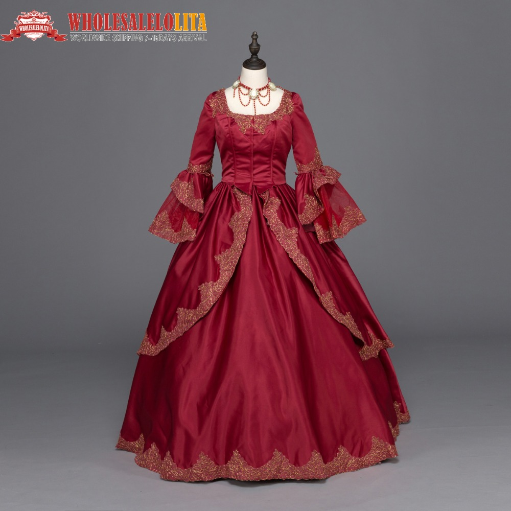 Burgundy Marie Antoinette Renaissance Dress Christmas Ball Gown Steampunk Reenactment Theatre Clothing Gold Lace Decoration