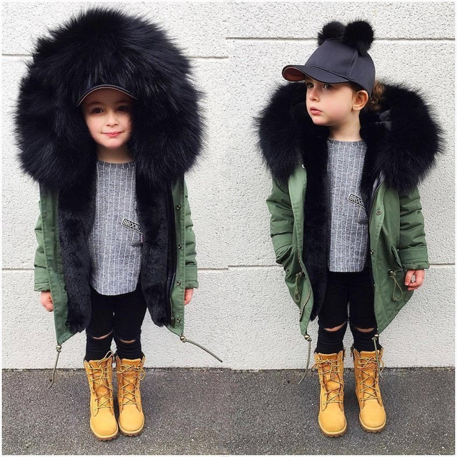 Cheap Winter Jackets for Boys Girls Down Coats Kids Thick Warm Overcoat Children Big Faux Fox Fur Hooded Outerwear Baby Parkas Clothes