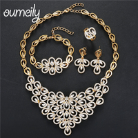 OUMEILY Turkish Wedding Costume Jewellery Set Bridal Jewelry African Beads Jewelry Set for Women Gold Color Flower Necklace Set