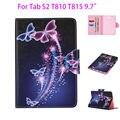 Tab S2 9.7 дюймов Окрашенные PU Кожаный Чехол Для Samsung Galaxy Tab S2 9.7 T810 T815 Чехол Tablet Цветок Карты Слоты кошелек Shell