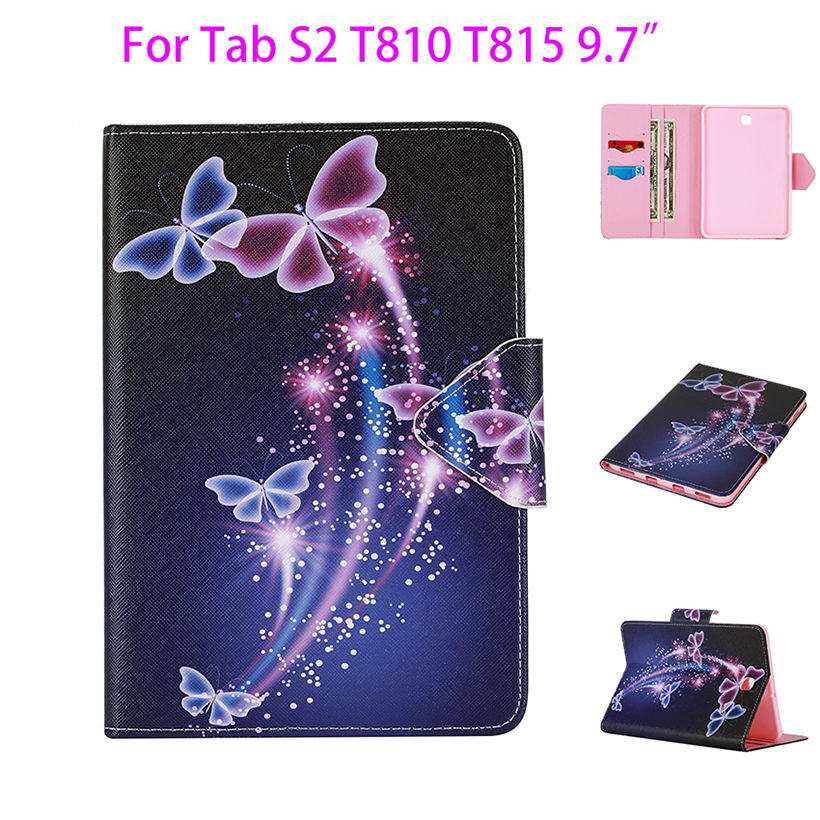 Tab S2 9.7 inch Painted PU Leather Case For Samsung Galaxy Tab S2 9.7 T810 T815 Case Cover Tablet Flower Card Slots wallet Shell luxury pu leather cover case for samsung galaxy tab s2 9 7 t810 t815 sm t810 flip stand for samsung galaxy s2 t815 cases kf469a