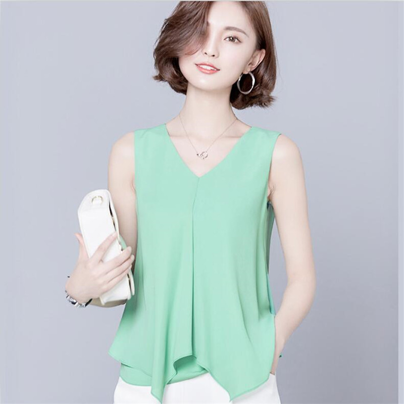 79efeac0624 2019 летние Повседневное шифоновый топ рубашка корейского стиля v-образным  вырезом без рукавов оборками блузки
