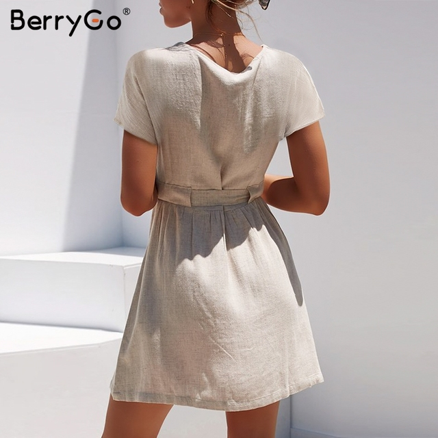 BerryGo Sexy v-neck women dresses linen dress Vintage short sleeve button sash mini dress Casual streetwear summer dress vestido 2