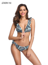 Bikini Set Women New 2019 Swimwear Women Print Swimsuit Ruffle Sexy Thong Brazilian Biquini Summer Female Halter Bathing Suit недорого
