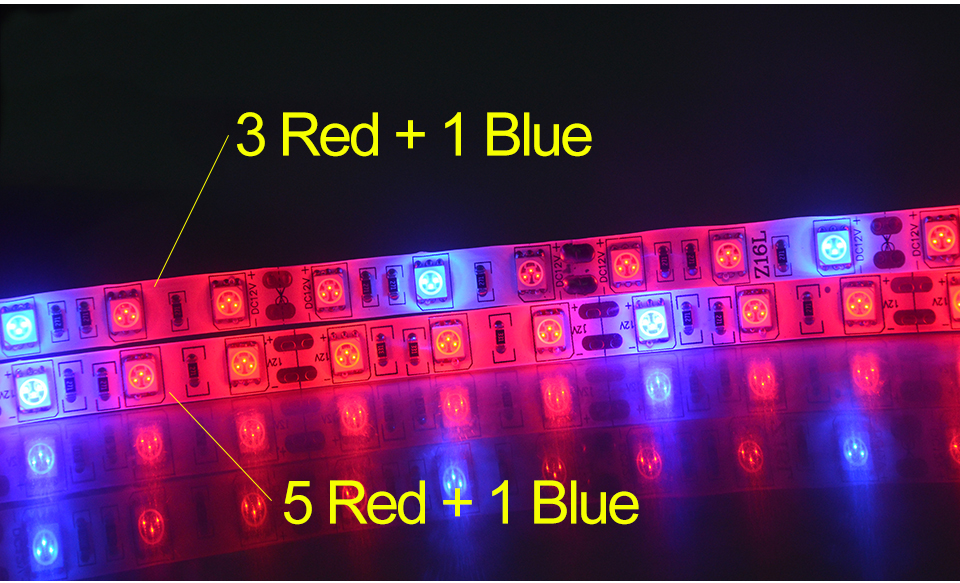 5M Led Plant grow light Waterproof SMD5050 Hydroponic Systems Led Grow Strip Light 300Leds Full spectrum (4)