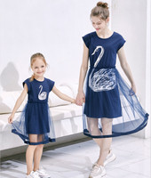 Mom And Daughter Family Matching Baby Girl And Mother Clothes Swan Tutu Dress Clearest Gauze Parent Child Outfits Clothes Dress