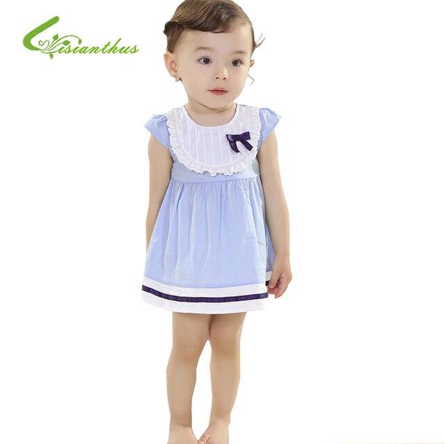 2016 Летние Принцесса девушки платье toddle девушки кружева бантом хлопок платье без рукавов платье младенца платье Бесплатная перевозка груза падения