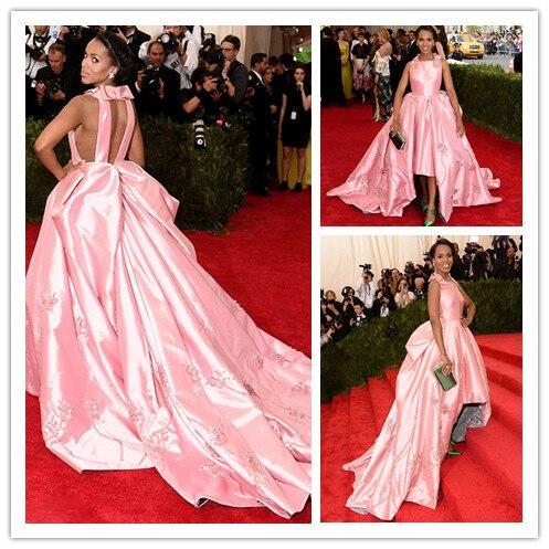 Mgc19 элегантный знаменитости платья встретился гала розовый кейт хадсон бальное платье вечерние платья ну вечеринку платья халат де вечер