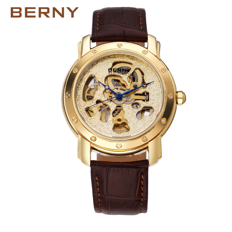 Berny Real Diamond Men Watch Automatic Mechanical Men Watches Fashion Luxury Brand Relogio Saat Montre Masculino JAPAN MOVEMENT цена