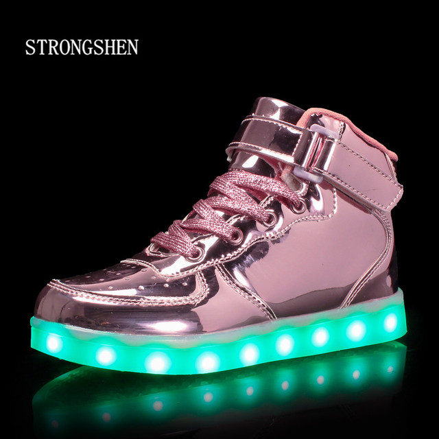STRONGSHE 2018 New Children Shoes With Light Boys&Girls Casual LED Shoes For Kids USB Charging LED Light Up 5 Colors Kids Shoes