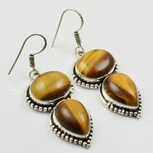 Tiger Eye , Silver Overlay on Copper Earrings, 54mm  E1956