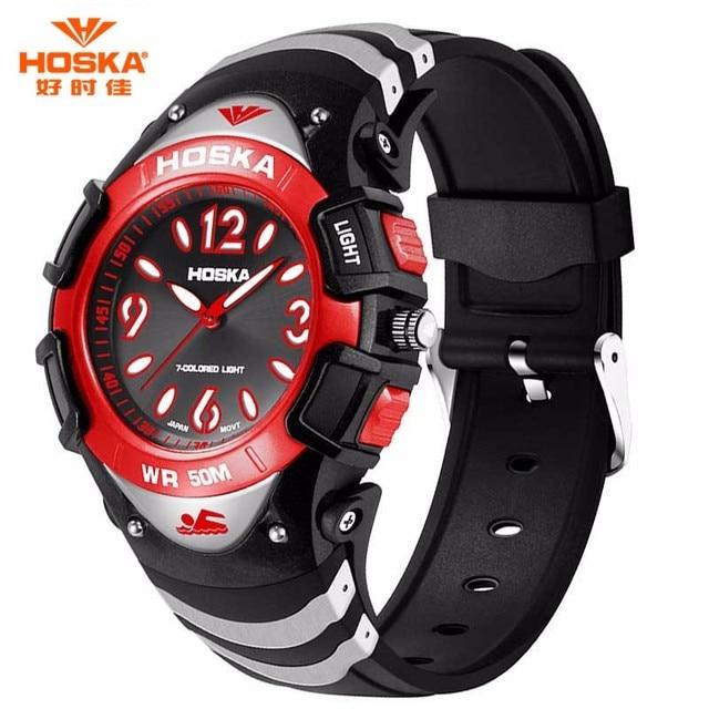 HOSKA Small Size Children Watches Luxury Sports Digital Quartz Wristwatch Electronic Waterproof Boy Girl Leisure Student Watch