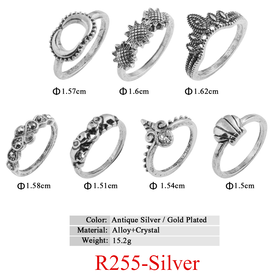 HTB1sjuGQVXXXXa5XFXXq6xXFXXXw 11-Pieces Boho Chic Spirituality Silver Plated Antique Stackable Ring Set - 9 Sets