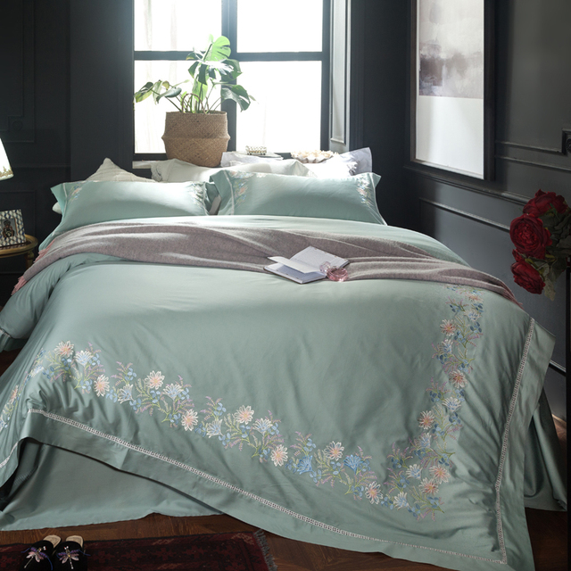 Egyptian Cotton Soft Bed Sheet Set Blue Green Queen King Size Bedding Oriental Embroidery Duvet Cover Bedclothes 40