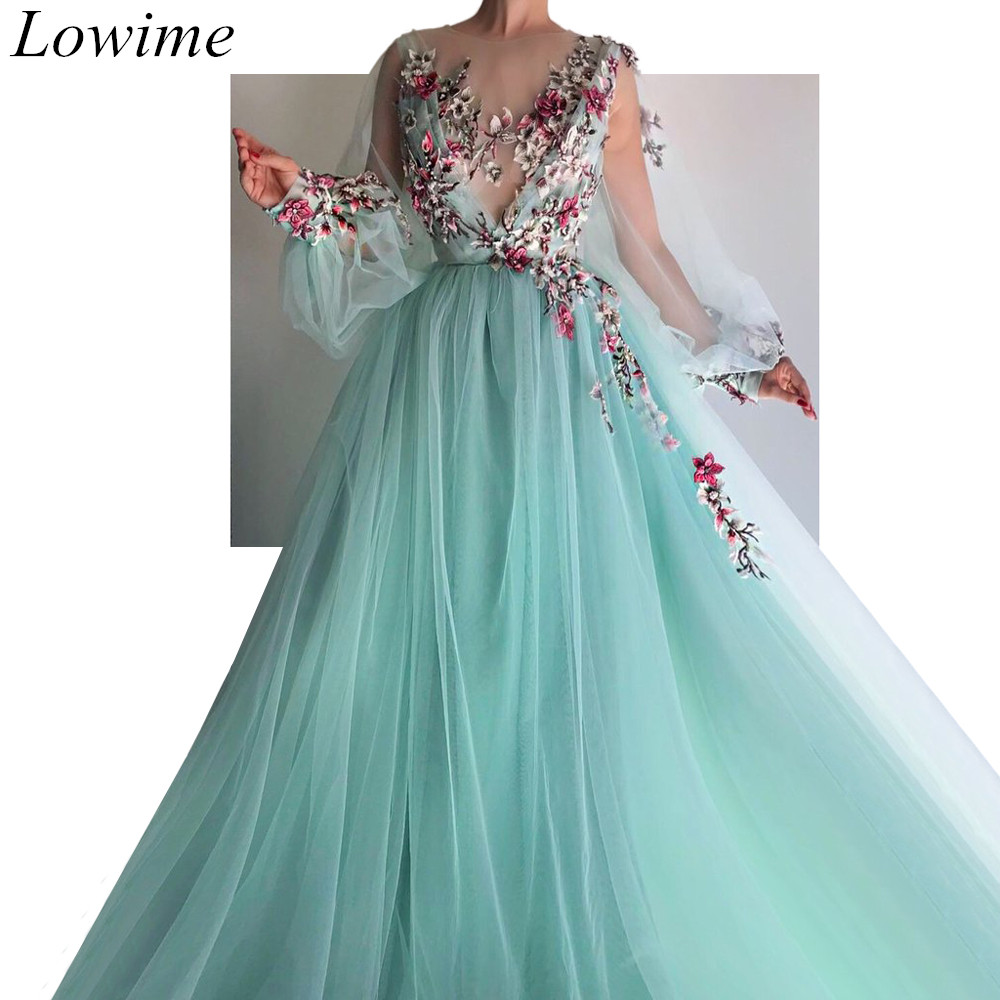 New Fairy Muslim   Evening     Dresses   2019 Long Illusion Sheer Neck Prom Party Gowns With Appliques Vintage вечернее платье Custom