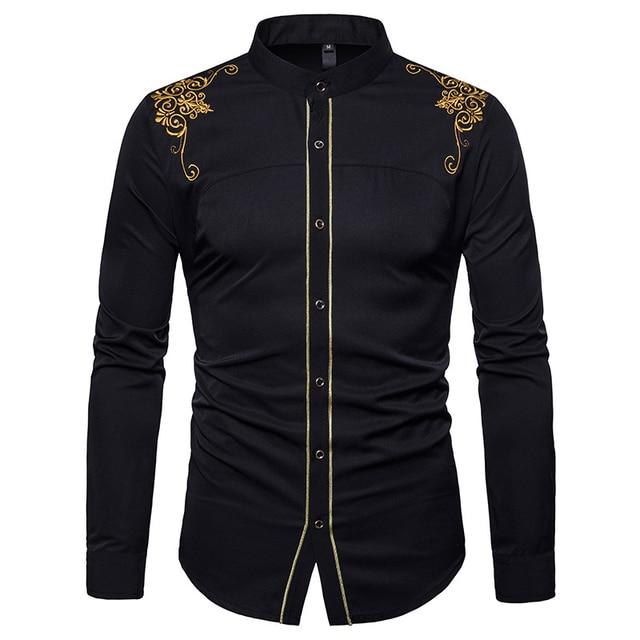 Gola Camisas de Vestido Dos Homens 2018 Nova Marca Da Flor do Ouro Bordado Chemise Homme Ocasional Botão Para Baixo Manga Longa Slim Fit camisa