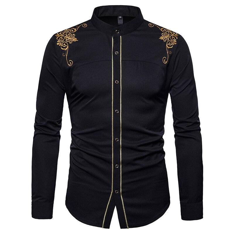 Stand Collar Mens Dress Shirts 2018 Brand New Gold Flower Em