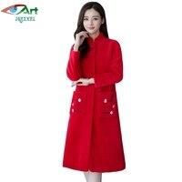 JQNZHNL 2017 Kış Palto Kadınlar Casual Mavi Faux Kürk Palto Ceket Moda Orta Uzun Cepler Kalınlaşmak Kürk Ceketler Paltolar E779