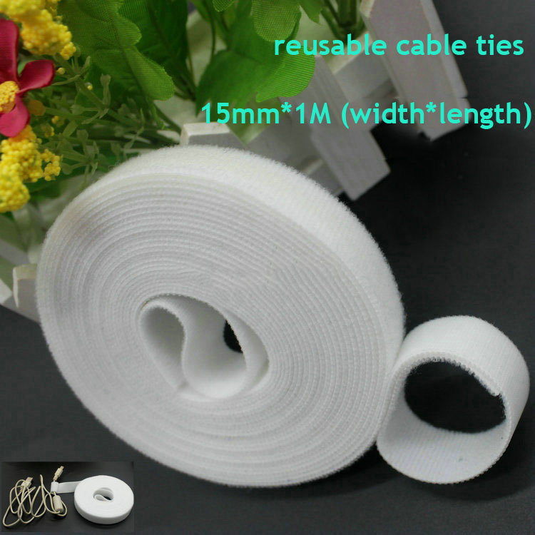 1roll white 15mm*1M Reusable nylon Cable Ties back to back tie strap Magic Tape hook loop fastener cable wire management футбольная карточка 14 даринчи лионель месси