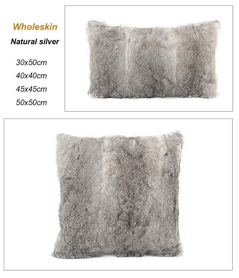 Rabbit fur pillow case detail 2
