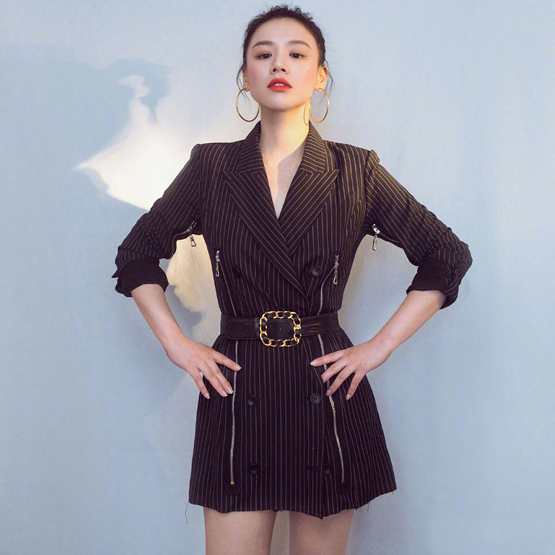 2019 Super Model Kaia Gerber Ma Sichun With The Same Striped Zipper Double Breasted Medium Length Small Suit Jacket Black Women