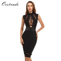 Free Shipping Sexy Black Dress For Club 2016 Womens Bodycon Bandage Dresses Wholesale HL