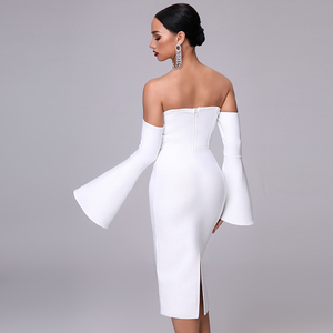 Image 5 - 2020 חדש סתיו נשים תחבושת שמלה אלגנטי לבן שחור שמלה סקסי אבוקה שרוול Midi סלבריטאים מסיבת חג המולד שמלת Vestidos