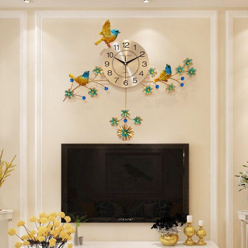 Золотые настенные часы с птицей современный дизайн домашний декор настенные часы гостиная спальня бесшумные Часы настенные креативные циф...