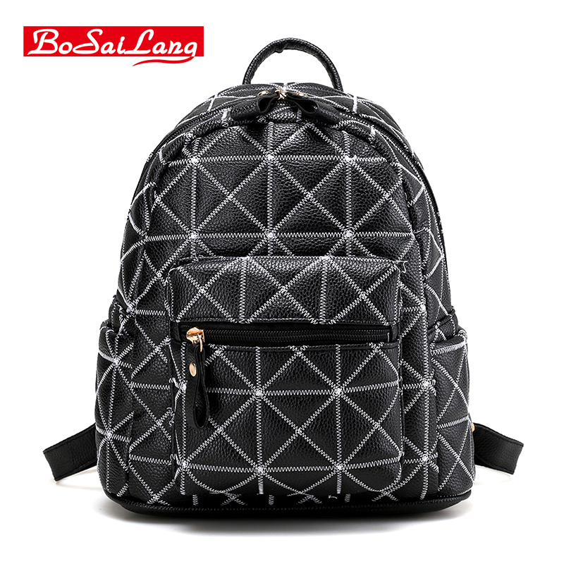 Women Backpacks 2017 Hot Sale Fashion Causal bags Geometric female shoulder bag PU Leather Backpacks For
