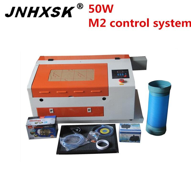 JNHXSK 4030 3040 Лазерная гравировальная и режущая машина с сотовым рабочим столом 400x300 мм M2 система используется для фанеры CNC CO2