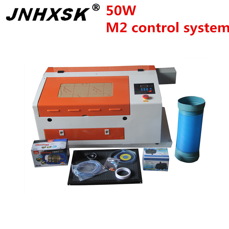 JNHXSK 4030 3040 Laser Engraving And Cutting Machine With Honeycomb Working Table 400x300mm M2 System Used For Plywood CNC CO2