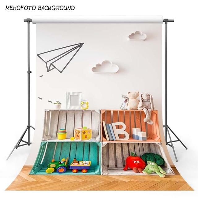 White Paper Plane Photography Background 5x7 Toy Car Bookshelf Ivory Wall Yellow Wood Newborn Photo Backdrop