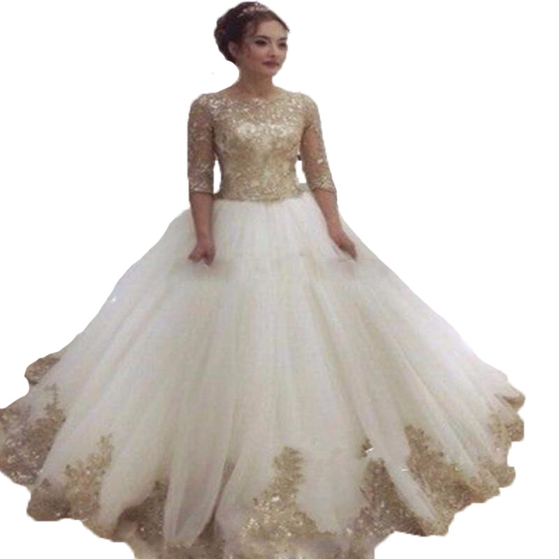 Luxury White And Gold Wedding Dress 2017 With Sleeves Plus