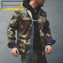 Emerson emersongearS Vintage Style BDU Jacket Mens Tactical Style Denim Stitching Jacket Woodland цена