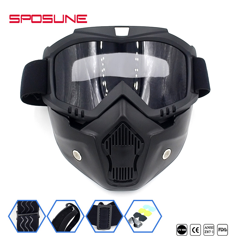 SPOSUNE Wholesale Motorcycle Riding Goggles Mask Motocross Dirt Bike Bicycle Airsoft Paintball Off-Road Vehicle Ski Face Glasses