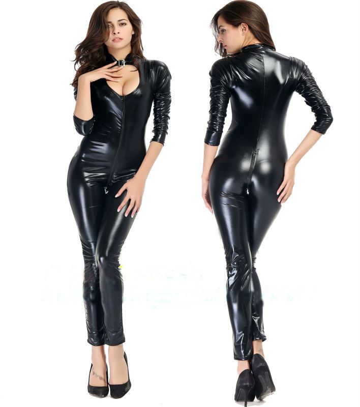 3XL 4XL Plus Size 2019 kvinnor Sexig Latex Faux Leather Open Crotch Zipper Dam erotisk underkläder Latex Catsuit Gratis frakt