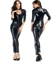 Free Shipping 2015 Women Sexy Latex Faux Leather Open Crotch Zipper Women Erotic Lingerie Latex Catsuit