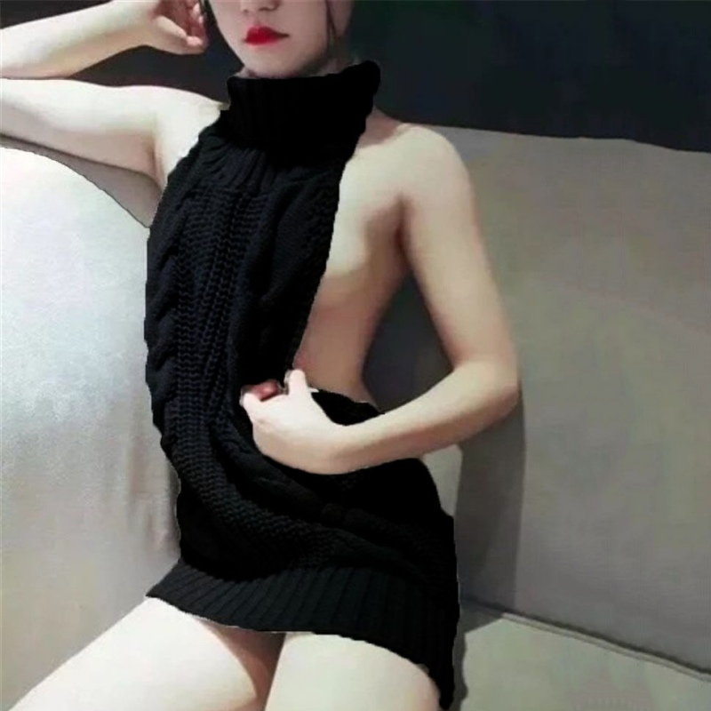 2017 hot New fashion Sexy Sleeveless Tie Open Back Backless Sweater Anime Cosplay Reversible Long Turtleneck Vest jumpers