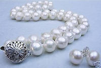 (Minimum Order1)Natural 9-10mm White Freshwater Pearl Shell Necklace Earring Set Beads Jewelry Making Natural Stone 18inch