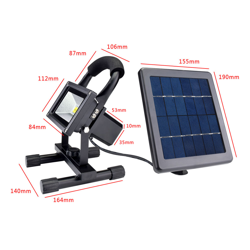 Solar LED Spotlight Outdoor Floodlights 10W IP65 Waterproof Portable Solar Powered Refletor Led Rechargeable Camping Flood light (16)